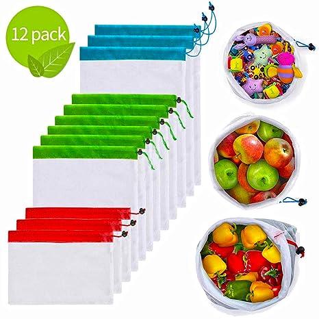 Amazon.com: Bolsas de malla reutilizables de 12 piezas ...