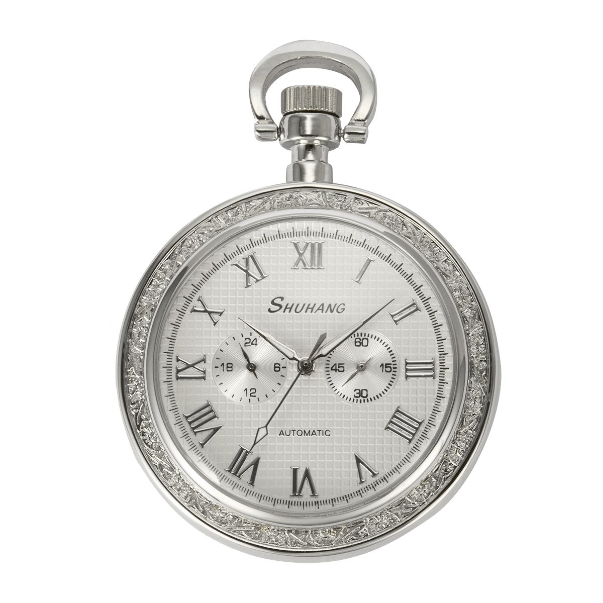 ManChDa Silver Open Face 2 Sub-Dail 24-Hour Small Second Hand Machanical Men Pocket Watch Roman Numerals