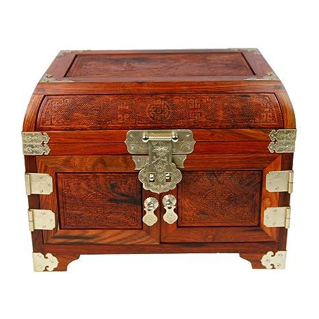 caja de joyería rojo palo de rosa Caja de madera de la joyería artesanía caja de