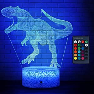 AerWo Dinosaur Lamp, T Rex 3D Dinosaur Night Light for Kids, 7 Colors +16 Colors Changing Dinosaur Toys with Remote Control & Smart Touch, Light Up Dinosaur Room Decor for Boys Birthday Gift