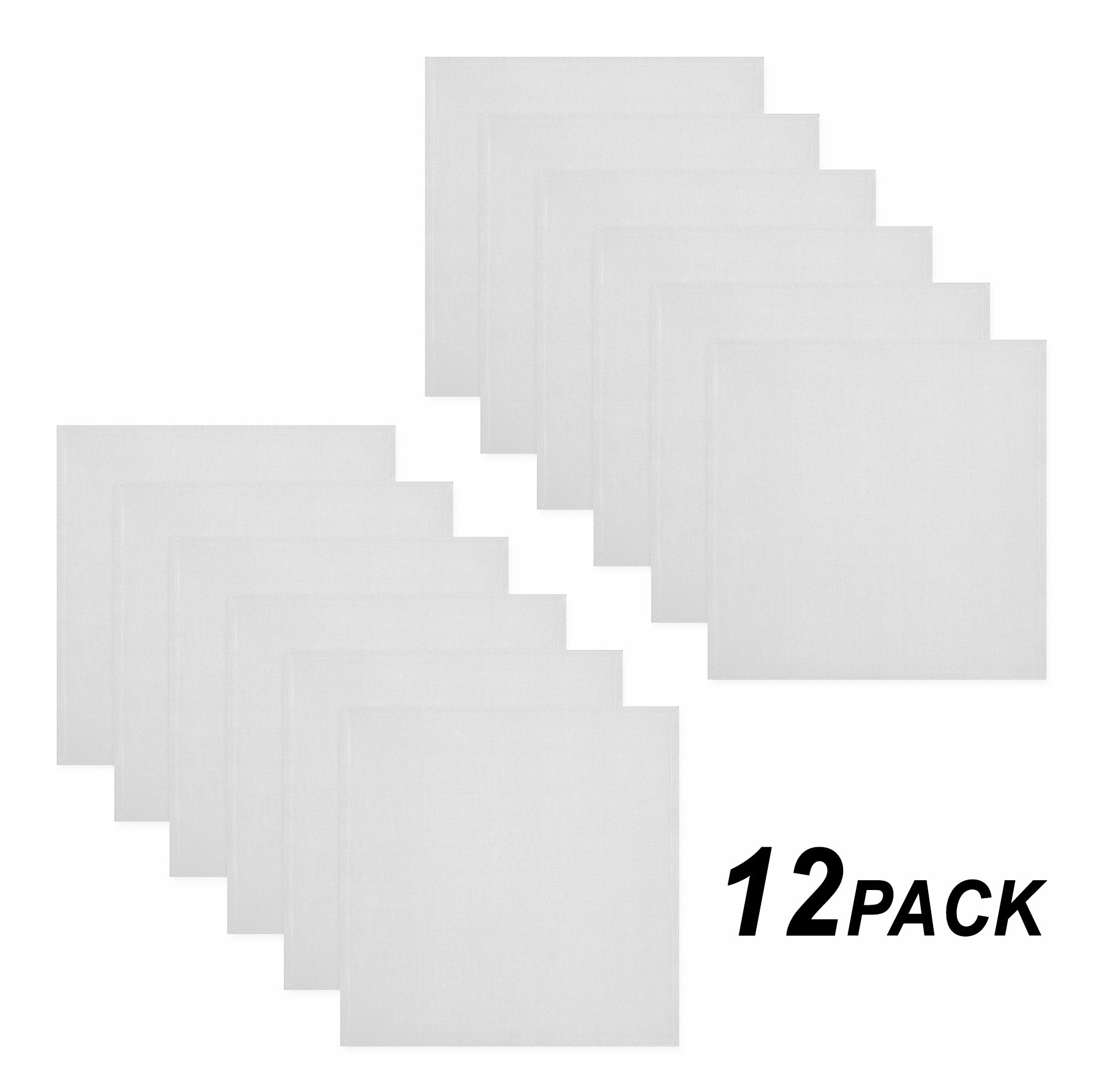 Cotton Craft Napkins, 12 Pack Oversized Dinner Napkins 20x20 White, 100% Cotton, Tailored with Mitered corners and a generous hem, Napkins are 38% larger than standard size napkins
