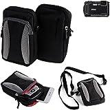 Für Nikon Coolpix W300 Gürtel Tasche Holster Umhänge Tasche Fototasche Schutz Hülle für Nikon Coolpix W300, schwarz-grau + Extrafach mit Platz für Powerbank, Festplatte etc. | Case travelbag Brustbeutel Brusttasche - K-S-Trade(TM)