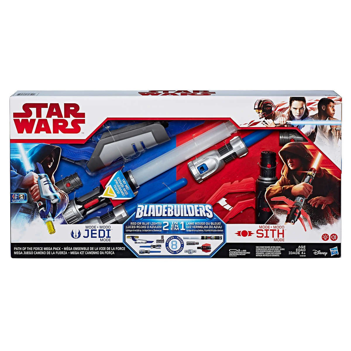 Star Wars Path of the Force Lightsaber Mega Set with Jedi and Sith Mode, Includes 2 Lightdaggers and 5 Connectors, featuring Blue and Red Lights, Let Your Kids Awaken the Force