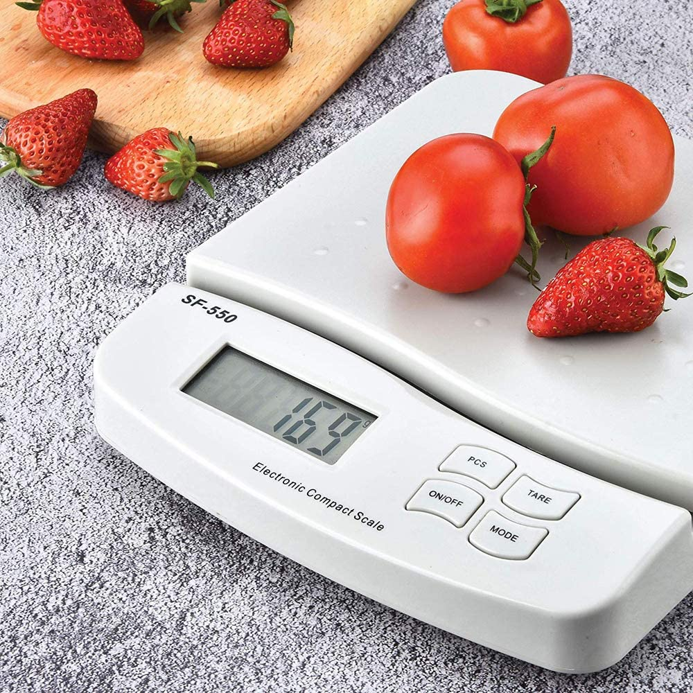 Kitchen Mail LCD Digital Scale Precision Food Scale for Baking and Cooking Lightweight and Durable with AA Battery 25KG/1G White
