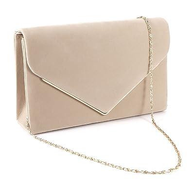 Anladia Women Silver Trim Faux Suede Velvet Envelope Women Clutch Evening  Clutch Bag  Amazon.co.uk  Shoes   Bags 8f42b326a5150