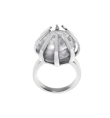 fb7940187 Renaissance Life Stainless Steel Cage Ring with Crystal Stone- Size M  (Medium): Amazon.co.uk: Jewellery