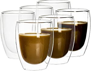 Set of 6, 12 Oz Double Wall Glasses, Insulated Glass Coffee Mugs & Tea Drinking Cups for Hot / Ice Beverages, Lightweight and Clear