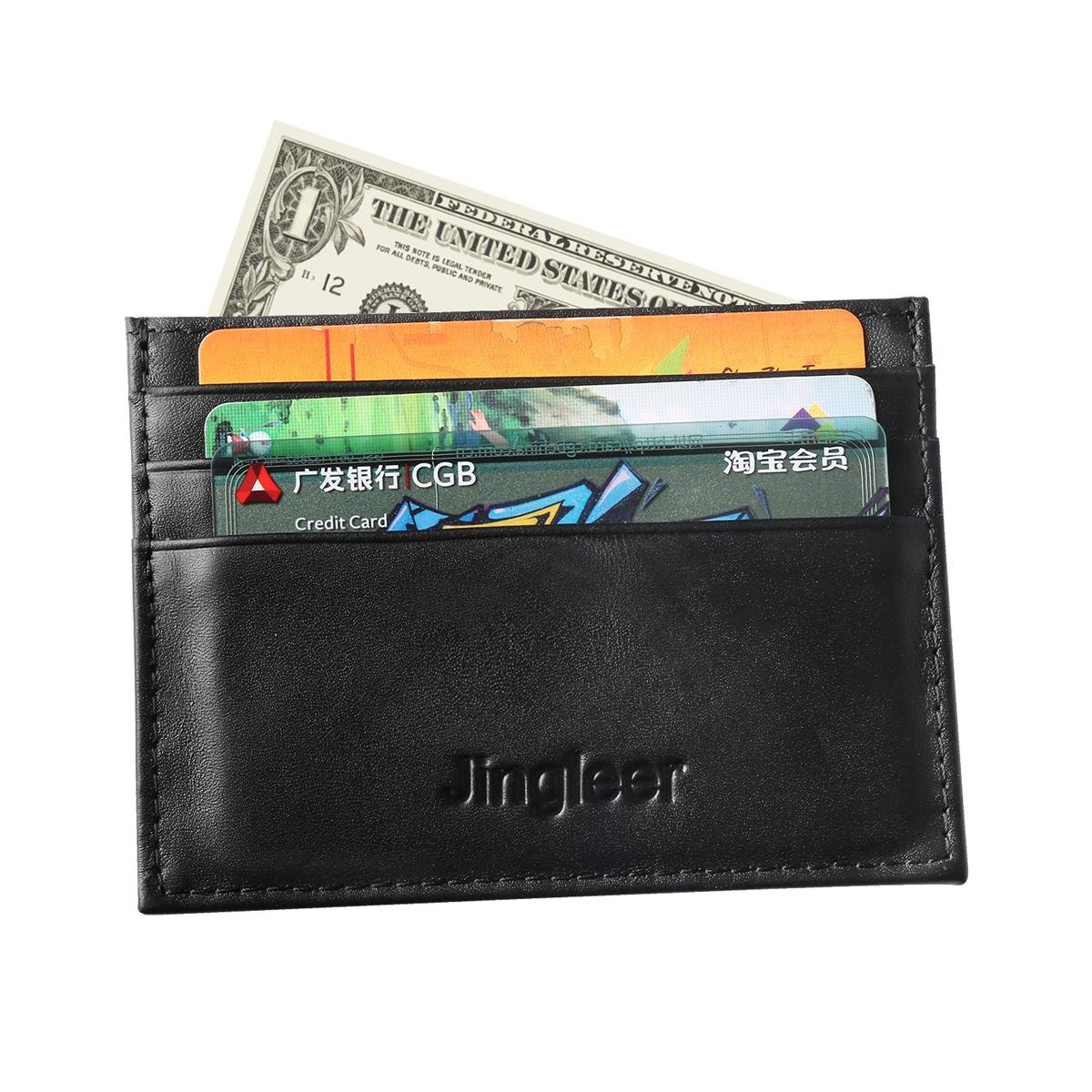 Credit Card Holder,Slim RFID Blocking Mens Gunine Leather Card Wallet by Jingleer,7 Card Slots with Gift Box