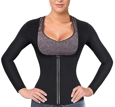 693e5be007a Women Sauna Suit Waist Trainer Neoprene Shirt for Sport Workout Weight Loss  Corset Hot Body Shaper