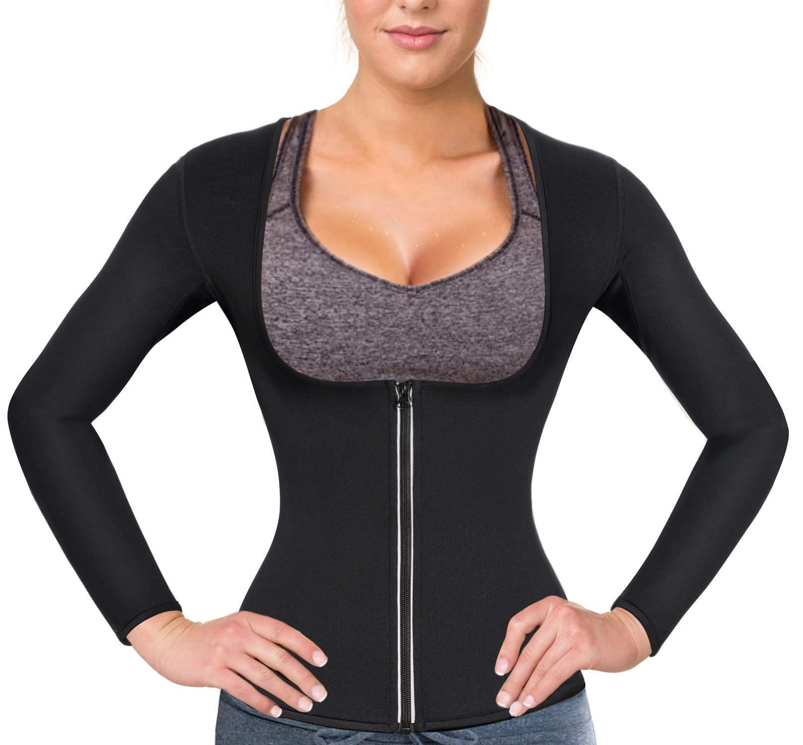 Women Sauna Suit Waist Trainer Neoprene Shirt for Sport Workout Weight Loss Corset Hot Body Shaper Top (M, Black#2 Long Sleeves)