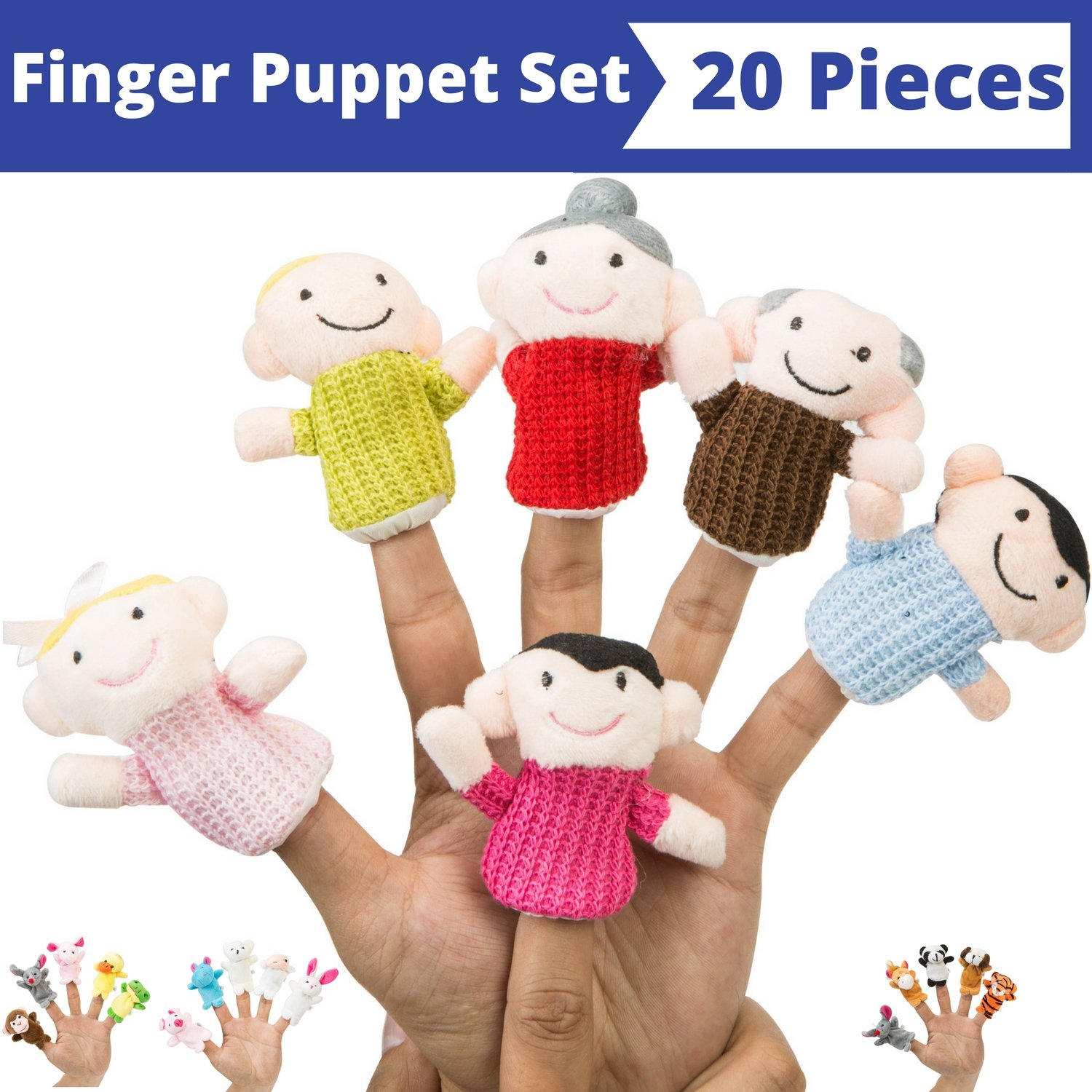 Finger Puppet Set (20-Piece), 6 Family Member Finger Puppets,14 Animal Finger Puppets - Great for Storytelling, Role-playing, Teaching and Fun - by Better Line