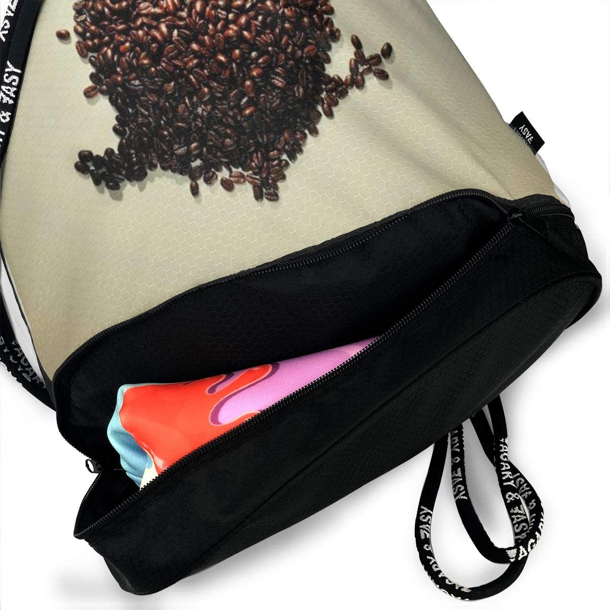 GymSack Drawstring Bag Sackpack Coffee Owl Sport Cinch Pack Simple Bundle Pocke Backpack For Men Women