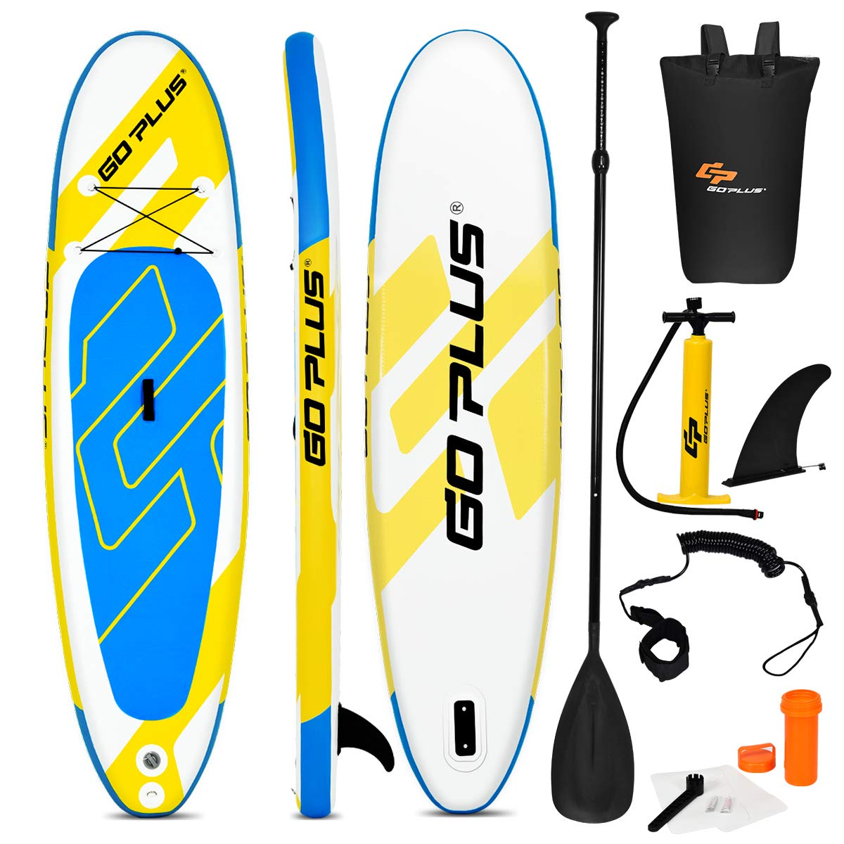 Goplus Inflatable Stand Up Paddle Board, 6'' Thick SUP with Accessory Pack, Adjustable Paddle, Carry Bag, Bottom Fin, Hand Pump, Non-Slip Deck, Leash, Repair Kit (Yellow+Blue, 11FT) by Goplus
