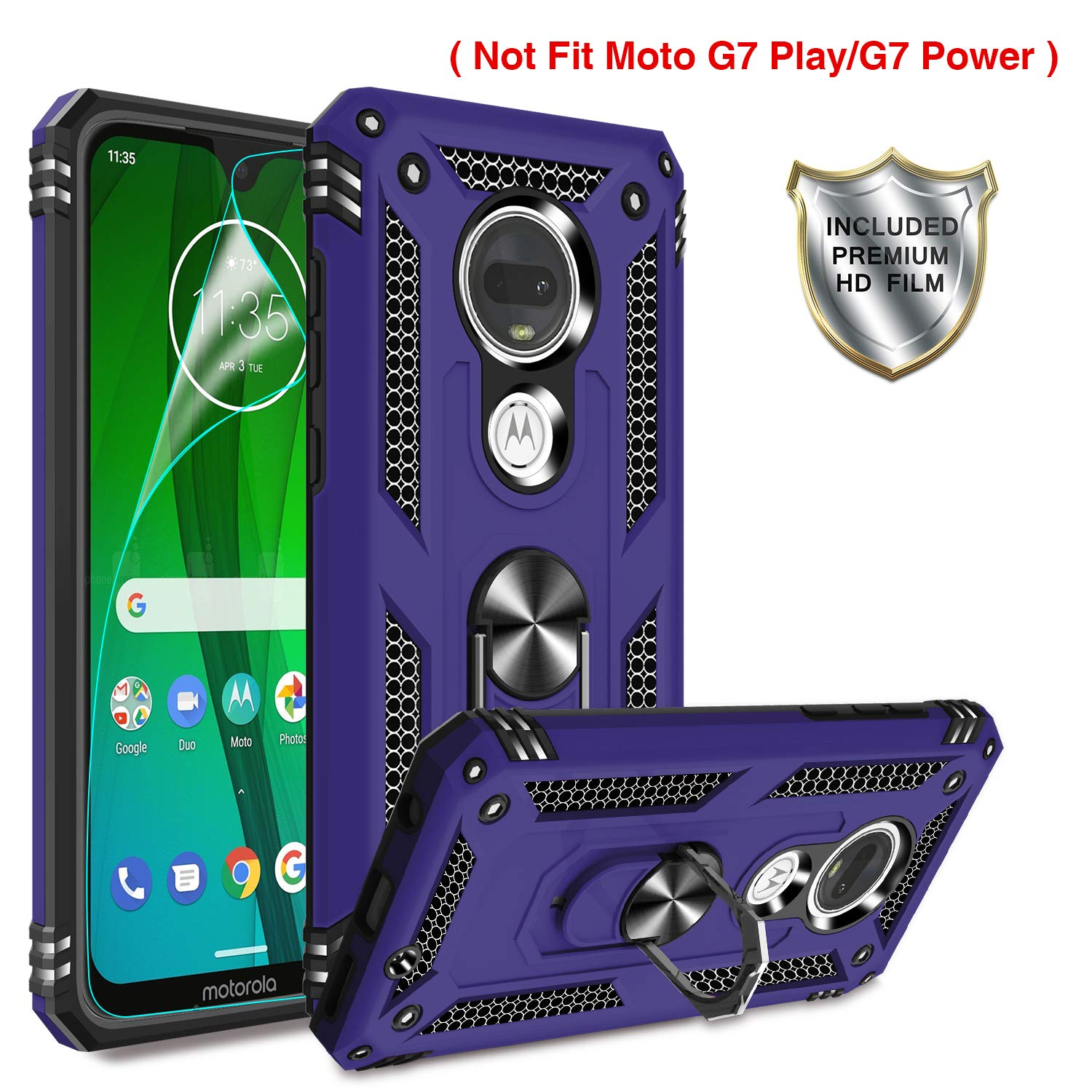 Gritup Moto G7 Phone Case, Moto G7 Plus Cases with HD Screen Protector, 360 Degree Rotating Metal Ring Holder Kickstand Armor Anti-Scratch Bracket Cover Phone Case for Motorola Moto G7 Purple