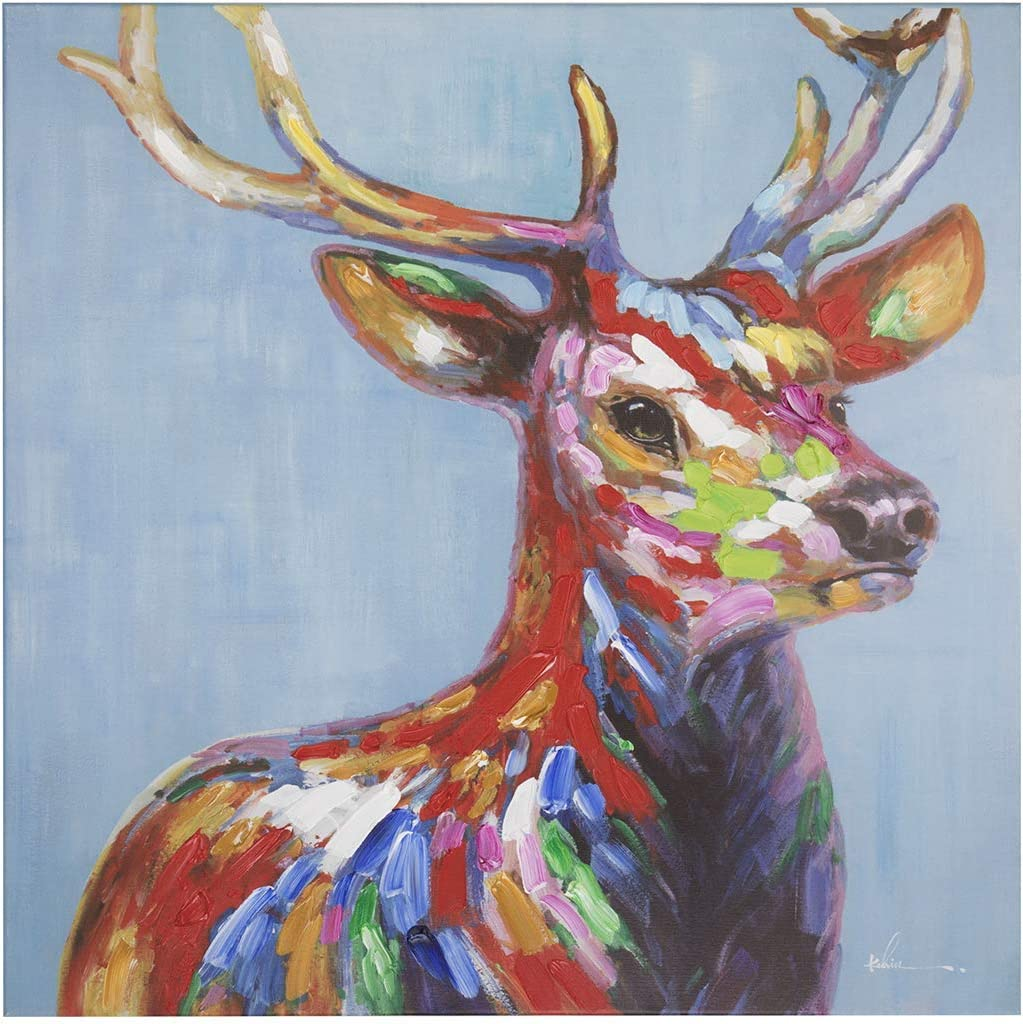 Amazon Com Colorful Deer Wall Art Modern Printing On Canvas Painting With Hand Embellished Home Decor 28 X 28 Posters Prints