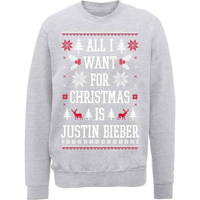 "Sudadera oficial de Justin Bieber con texto ""All I Want For Christmas"" ..."