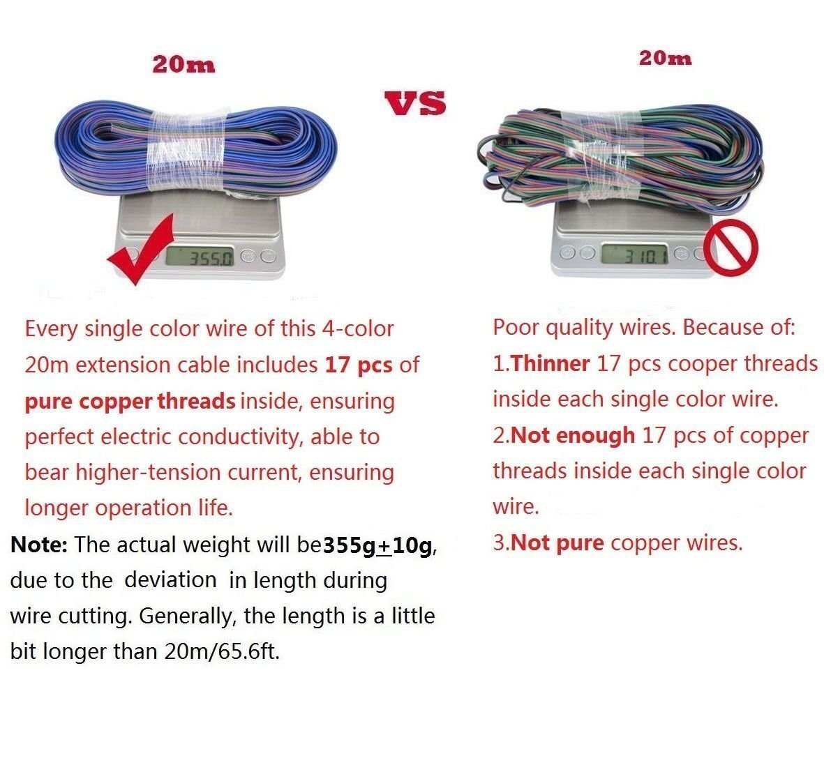 TronicsPros 20m 65.6ft 4 Pin 4 Color RGB Extension Cable 22AWG Wire ...
