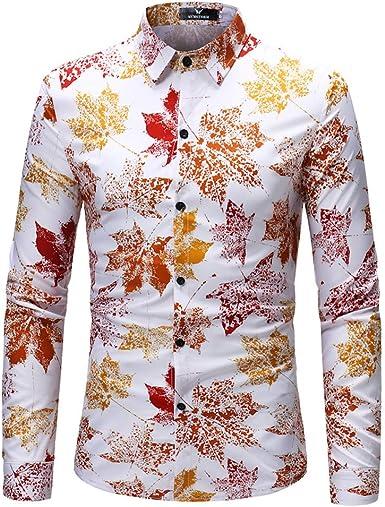 Sencillo Vida Camisa de Estampada para Hombre Manga Larga Casual Slim Fit Camisas de Hombre de Vestir Delgada Clásico Cuello de Solapa con Botones Hoja de Arce Camiseta Básica para Hombre Shirts: