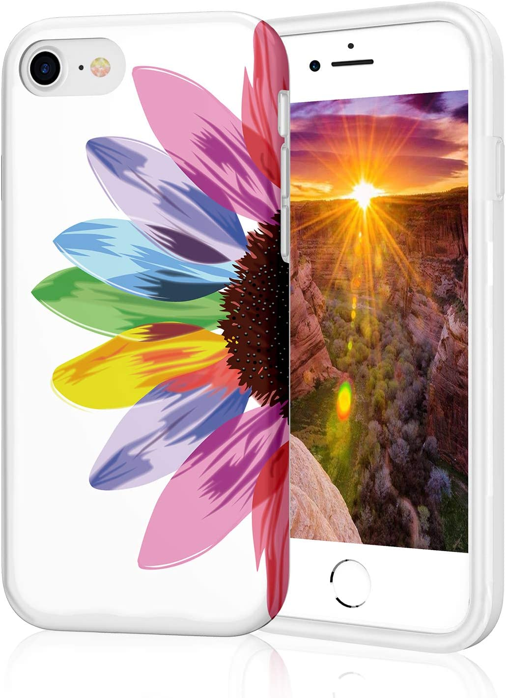 ZQ-Link iPhone 8 Case, iPhone 7 Case for Girls, Stylish Slim Fit Glossy TPU Soft Rubber Silicone Cover Phone Case iPhone 7 / iPhone 8 / iPhone SE2 Seven Color Rainbow Flower
