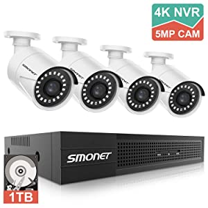 5MP Security Camera Systems,SMONET 8-Channel Home Video Surveillance System(1TB Hard Drive),4pcs 5MP(2560TVL) POE IP Cameras,Power Over Ethernet,24/7 Recording for NVR Kits,Indoor&Outdoor CCTV Camera