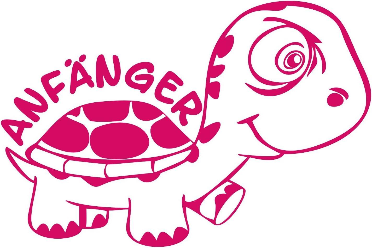 Folistick Anfänger Turtle Schildkröte Aufkleber Fahranfänger Autoaufkleber 24x16 Cm Ausführung Rechts Pink Auto