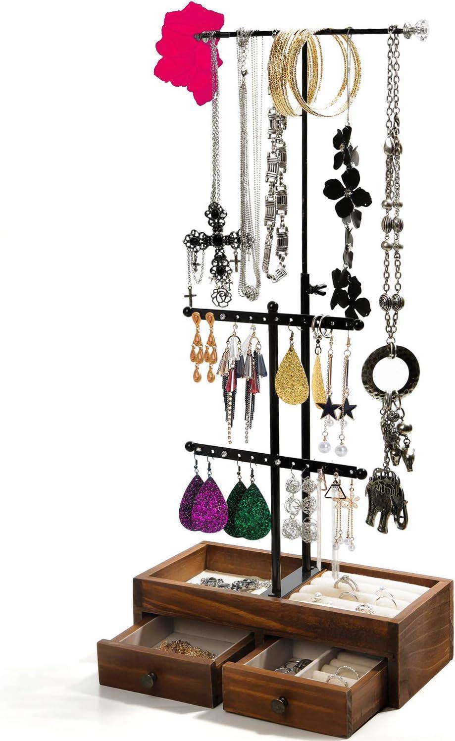 3 rows Black Large Handmade Bracelet HolderJewelry OrganizerWooden Jewelry Display StandBracelets Storage Holder Sold Out