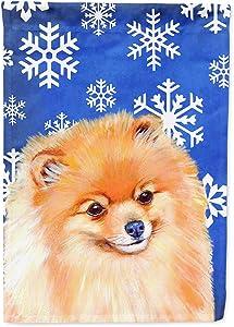Caroline's Treasures LH9305GF Pomeranian Winter Snowflakes Holiday Flag Garden Size, Small, Multicolor