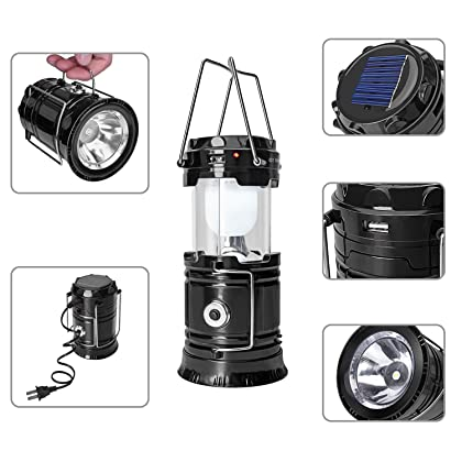 2 Pack GT ROAD Solar Led Camping Lantern, Rechargeable Outdoor Led Flashlight