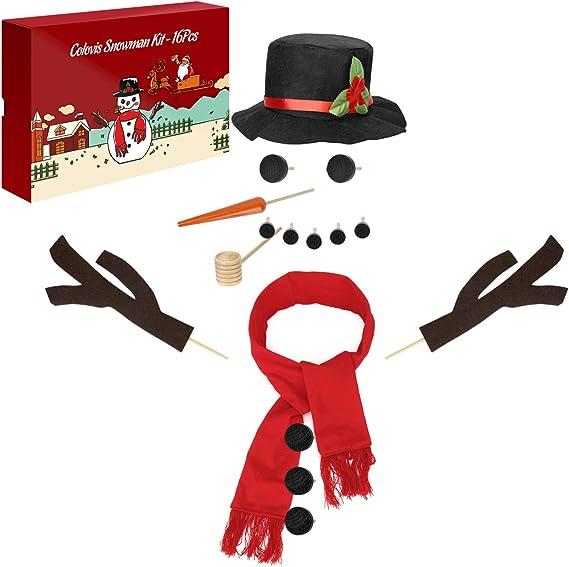 15PCS Snowman Kit Snowman Decorating Dressing Kits Winter Holiday Decor