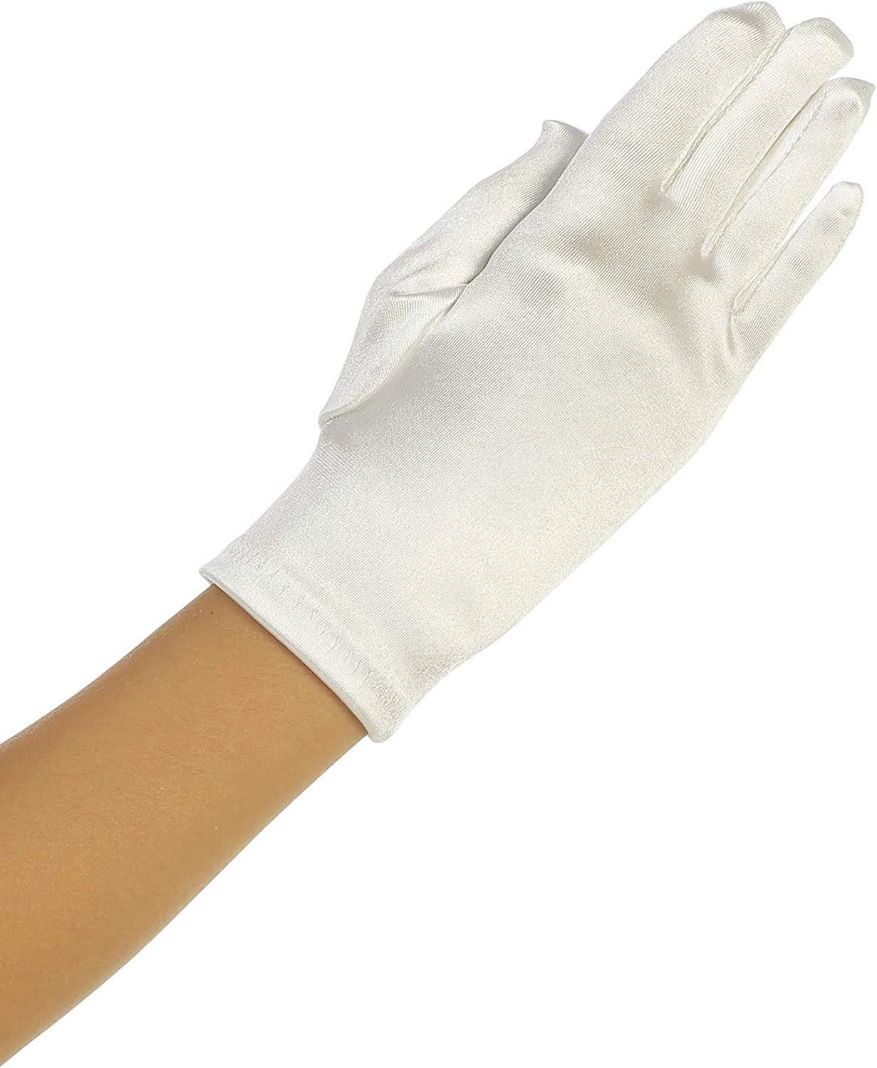 Girls Ivory Wrist Length Satin Special Occasion Communion Gloves 0-14