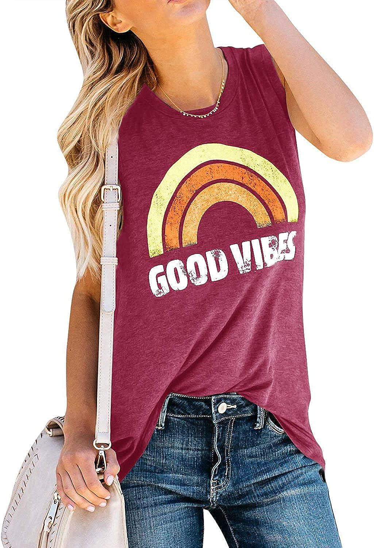 Womens Tank Tops Good Vibes Summer Graphic Tees Long Rainbow Print Tunics Shirts