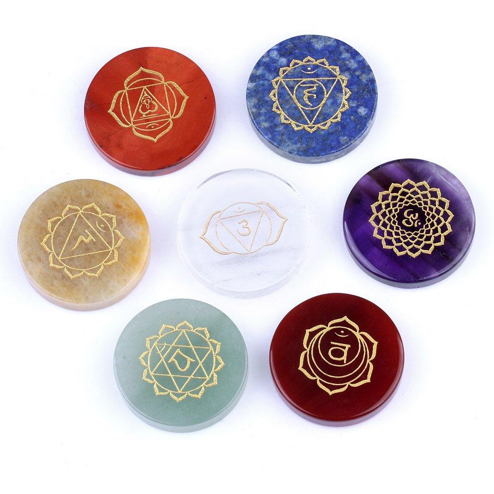 Chakra Stones-Healing Crystal With Engraved Chakra Symbols 1.3x1.3x0.24inch Set of 7 Holistic Balancing Polished Palm Stones