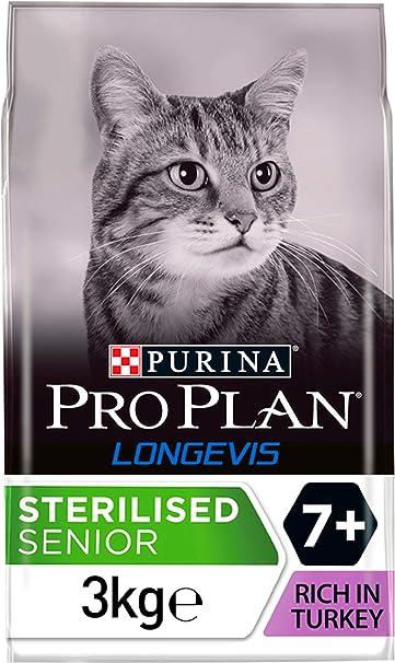 PURINA Pro Plan Comida Seco para Gato Esterilizado 7+ con Longevis, Sabor Pavo - 3 Kg: Amazon.es: Productos para mascotas