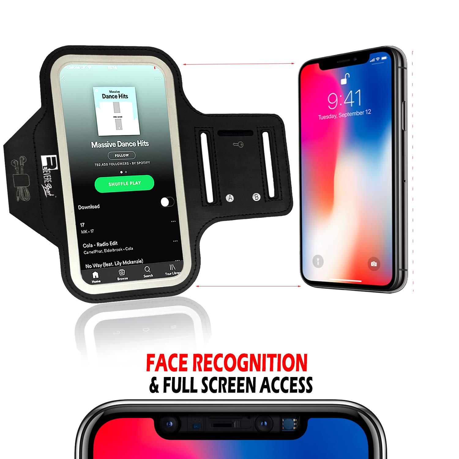 iPhone X/XS Running Armband with Full Screen Access  Sports Arm Phone Case  Holder for Runners, Exercise, Gym Workouts & Outdoor Fitness (X-Small -