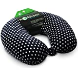 World's Best Mini Polka Dot Feather Soft Microfiber Neck Pillow, Black