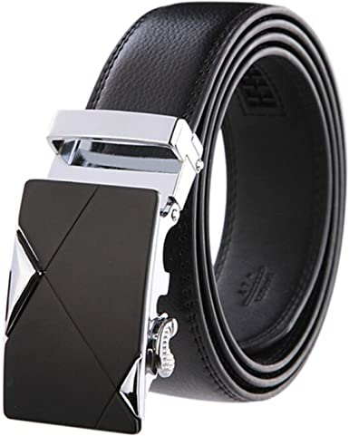 Automatic Buckle Belts For Men Famous Brand Strap Genuine Leather Belt New 125cm