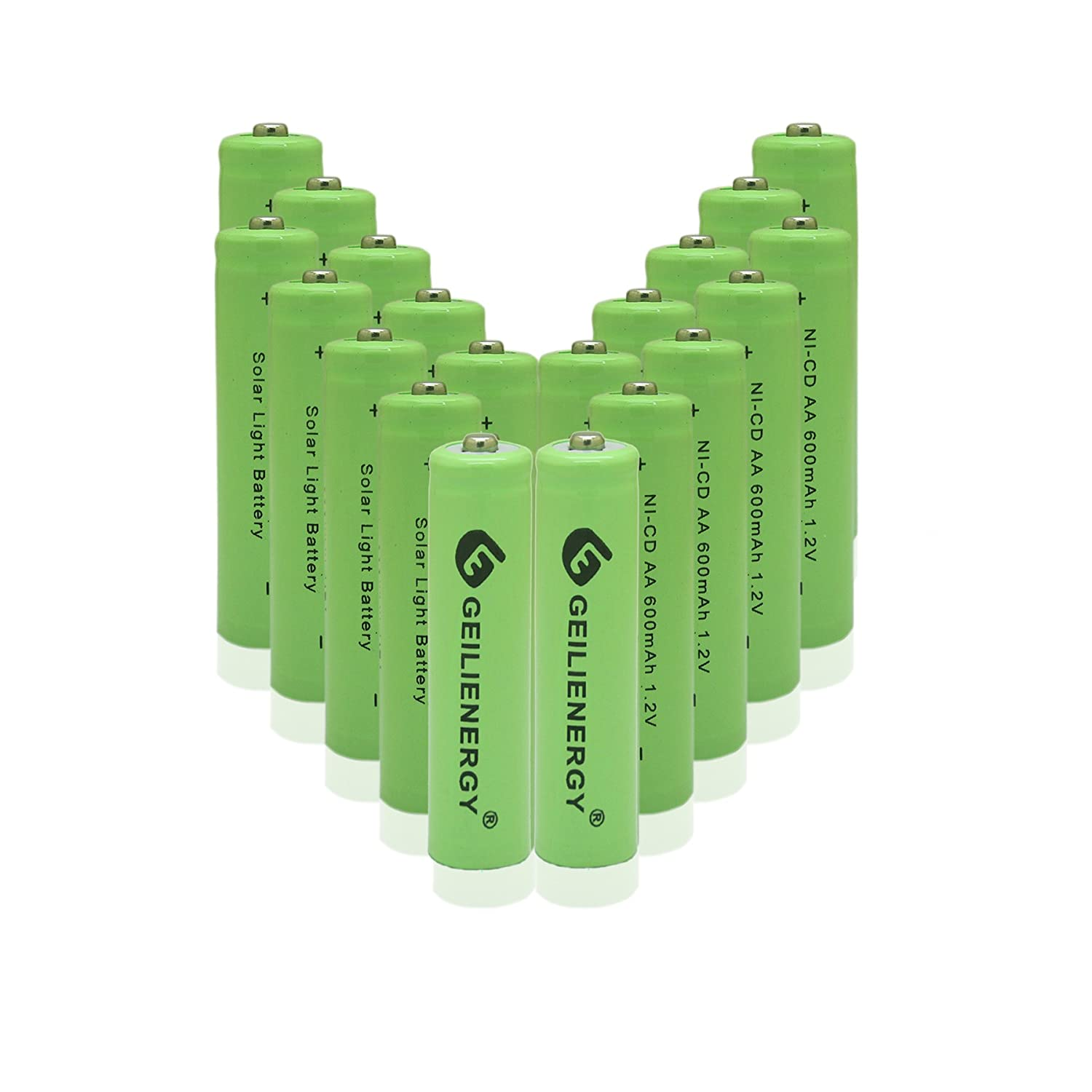 Amazon.com: GEILIENERGY 1.2v NiCd AA 600mAh Rechargeable Battery for Solar  light Lamp Green Color (Pack of 20): Home Audio & Theater