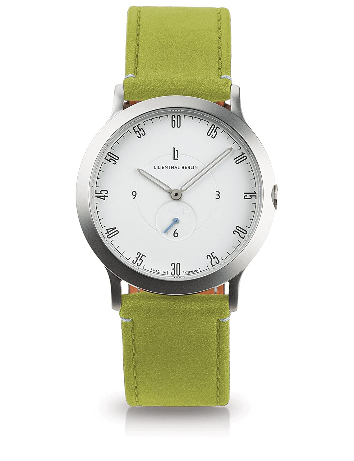 Lilienthal Berlin -Made in Germany- ベルリンの新しい時計モデル L1 ステンレススチール ケース B075R6V54Q Size: 37.5 mm|Case: silver / Dial: white / Strap: greenery Case: silver / Dial: white / Strap: greenery Size: 37.5 mm