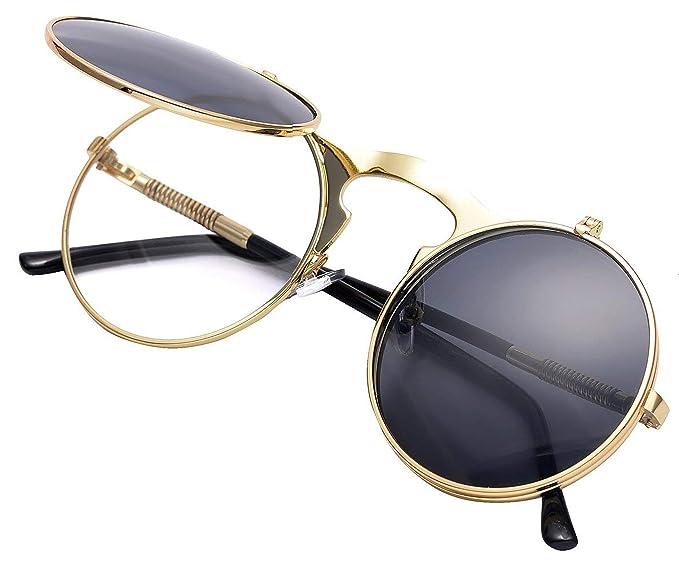 Red Peony Retro Metálico gafas de sol polarizadas Steampunk estilo retro para hombres y mujeres con protección UV400