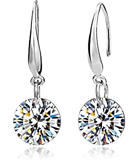 Lily Jewelry Ladies Fashion Elegant Silver Plated Austrian Crystal Drop Earings for Women fygyvMO
