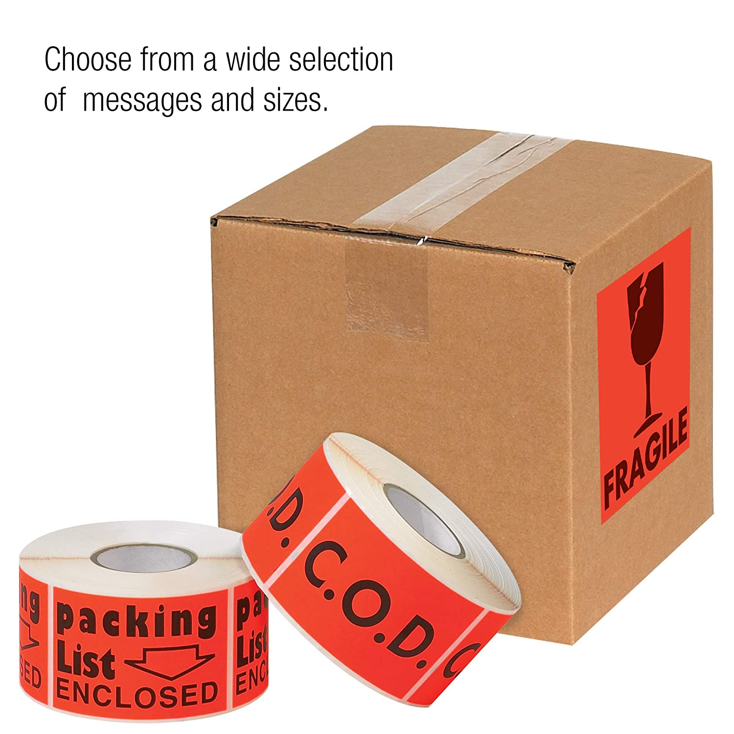 Tape Logic TLDL3591 Labels,Hardware Enclosed 1 Roll of 500 Labels 2 x 3 Fluorescent Red