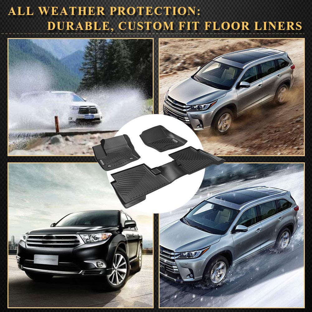 YITAMOTOR Floor Mats Compatible for 2014-2019 Toyota Highlander Black Heavy Duty All Weather Floor Liners Protection