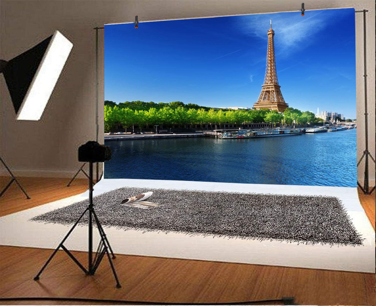 CdHBH 10x8ft Eiffel Tower Backdrop Famous Scenic Spots in Paris Photography Background Blue Sky Indoor Decors Wallpaper Holiday Party Backdrop Photo Studio