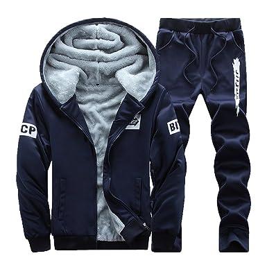 0d9142073c0e9 Homme Hiver Survêtement 2 Pièces Loisir Jogging Épais Zipper Slim Fit Sweat  à Capuche +Pantalons