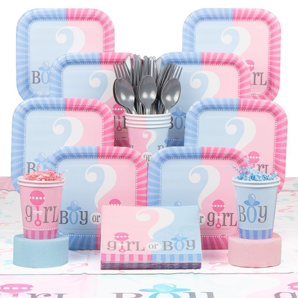 Amazon.com: Gender Reveal Deluxe Party Supplies Kit (Serves 20): Toys U0026  Games