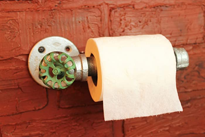 Toilet Paper Holder Industrial Galvanized Pipe Roll Farmhouse Bathroom Decor