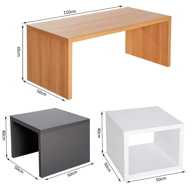 Lot de 3 Tables Basses gigognes encastrables 110L x 50l x 45H cm et 50L x 50l x 40H cm Coloris h/être Noir et Blanc 33