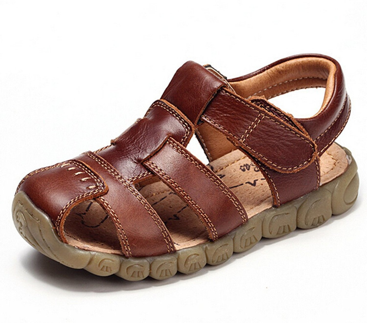 Zicoope Summer Outdoor Athletic Flat Sandals for Boys (Toddler/Little Kid) Brown 10 M