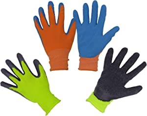 Kids Gardening Gripper Gloves for age 3-13, 2 Pairs Foam Rubber Coated Garden Gloves for girls boys (Size 4 (age 7-8))