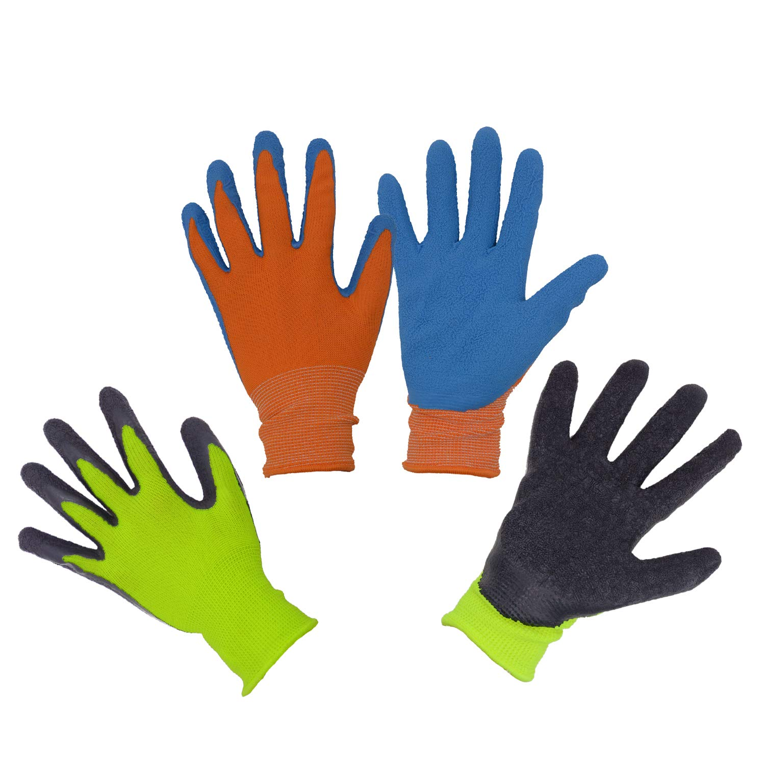 Kids Gardening Gripper Gloves for age 3-13, 2 Pairs Foam Rubber Coated Garden Gloves for girls boys (Size 2 (age 3-4))